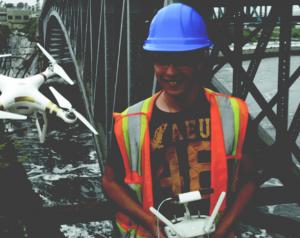 Laird Ferguson, flying our UAV while inspecting the abutments of the Reversing Falls bridge in Saint John, NB